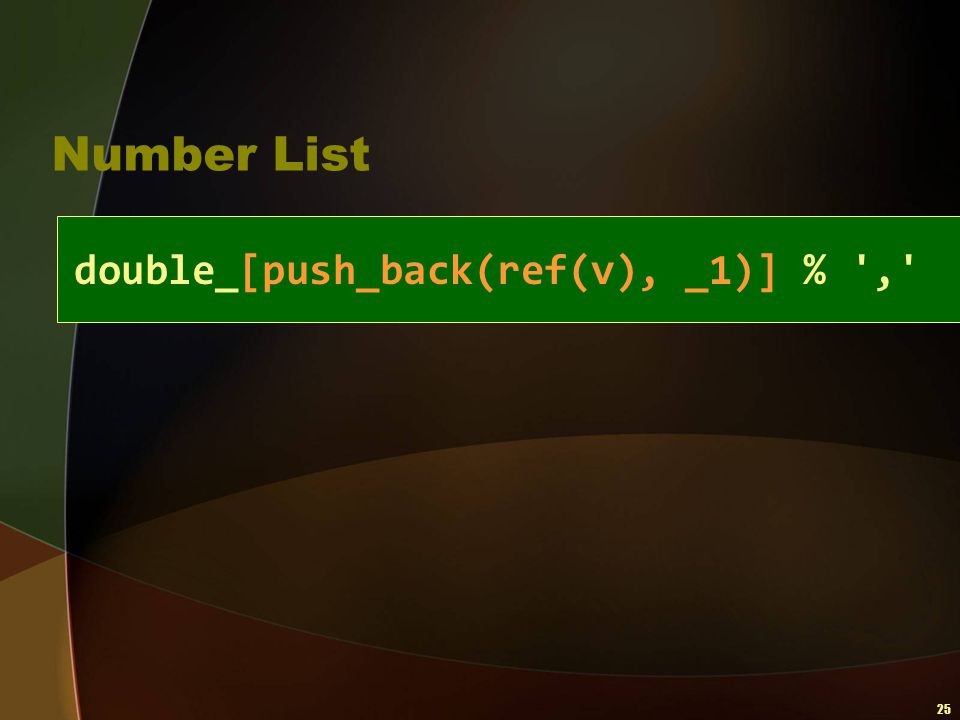 Number List double_[push_back(ref(v), _1)] % ,